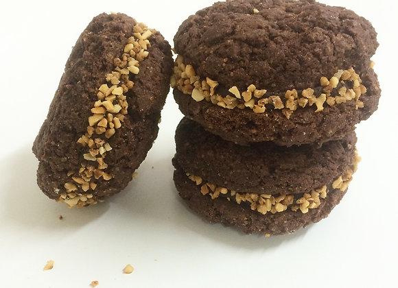 Cookie sandwich, 1 chocolat et 1 praliné