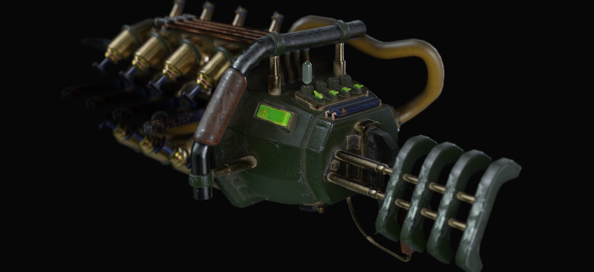 The tool we managed to include in this version was a laser. It is a powerful damage-dealing module capableof dispatching dybbuks quicker and from a farther distance than the blast and stab method, but consumes energy.