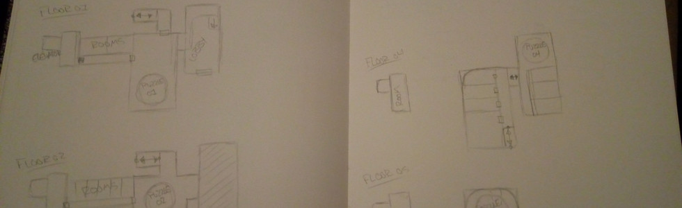 Above are my initial sketches. In the beginning we wanted five different labs each with five puzzles in them.