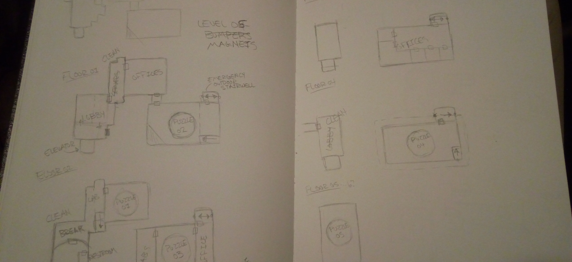Because of the limited time frame, I created these sketches very quickly so I could get to work on the greybox.