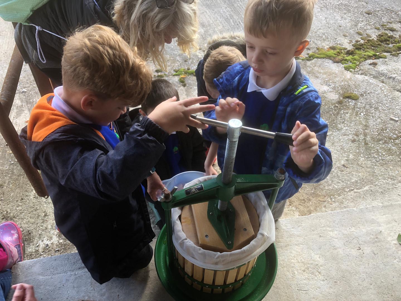 Pressing apples