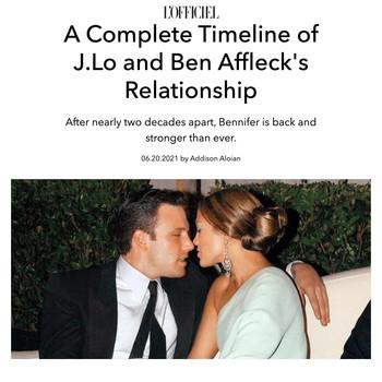 A Complete Timeline of J.Lo and Ben Affleck's Relationship