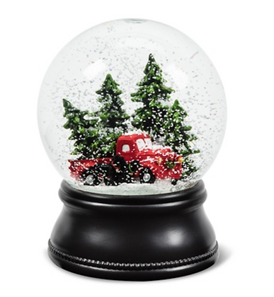 SNOW GLOBE TRUCK WITH TREE AND DOG