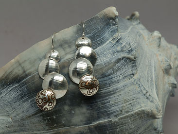 earrings silver mokume gane
