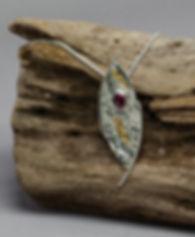 pendant silver reticulation gold garnet