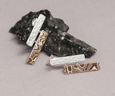 earrings silver mokume gane texture