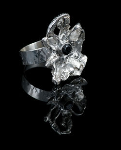 ring sterling silver fusion onyx