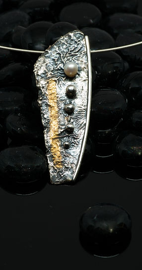 pendant silver gold reticulation pearl patina