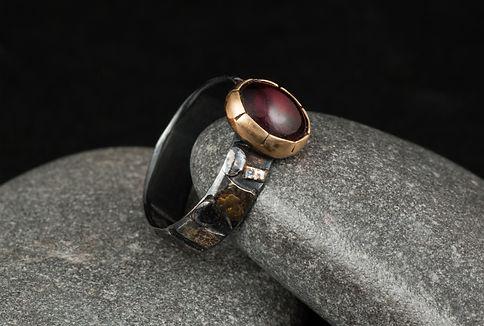 Silver gold garnet ring