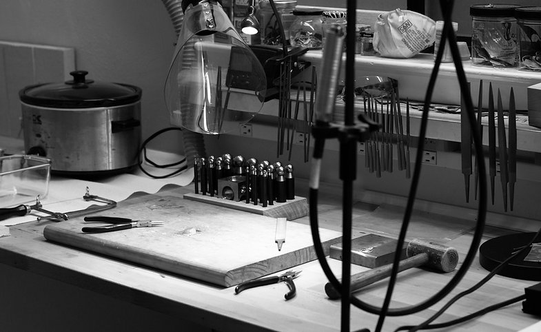 black and white silversmithing studio