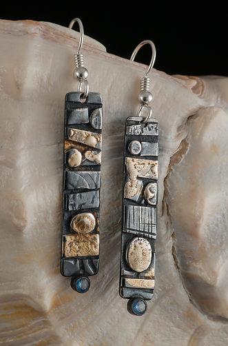 Silver gold blue spinel earrings