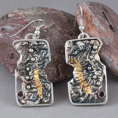earrings sterling silver gold garnet reticulation