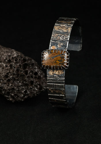 Silver gold tiger iron bracelet