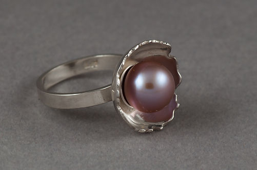 sterling silver ring freshwater pink pearl