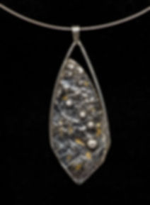 pendant silver reticulation gold patina