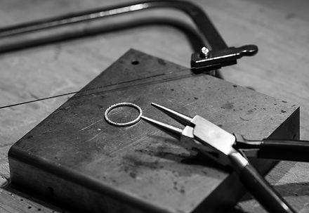 black and white silversmithing studio anvil