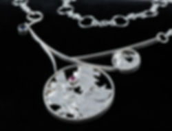 sterling silver necklace garnet iolite fusion