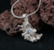 Pendant silver salt casting gold alexandrite CZ texture
