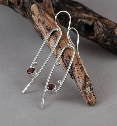 earrings sterling silver garnet