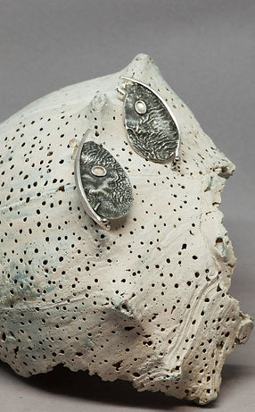earrings silver reticulation patina