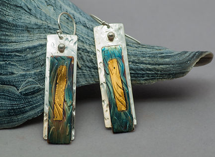 earrings silver patina gold texture