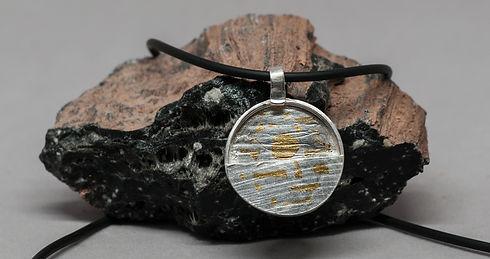 pendant silver gold texture