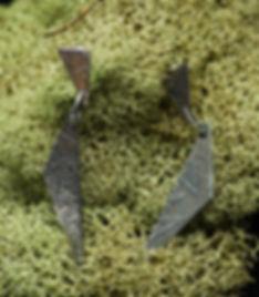 earrings silver etching