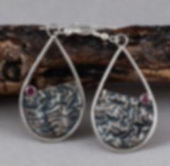 earrings sterling silver garnet reticulation