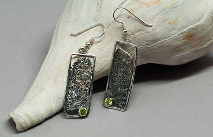 earrings silver reticulation patina cz