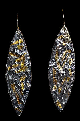earrings silver reticulation gold patina