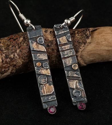 Silver gold garnet earrings