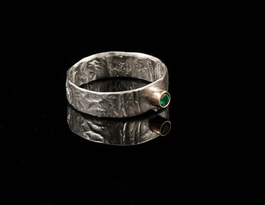 Silver ring reticulation gold emerald