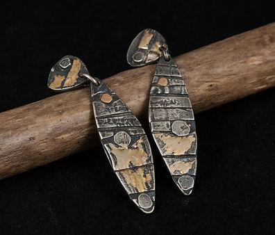 Silver gold post earrings