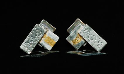 earrings silver gold texture
