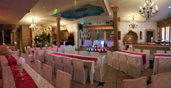 wedding white and red set up