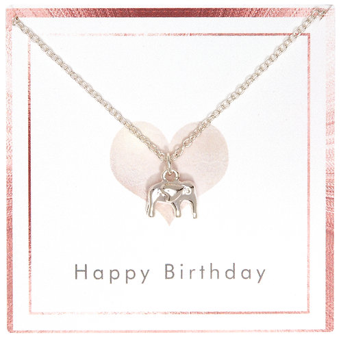 Heart Ear Silver Elephant necklace