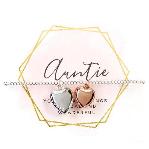 Two tone heart adjustable bracelet