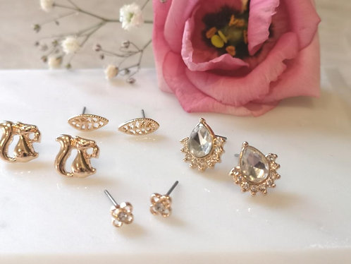 Gold squirrel earring set