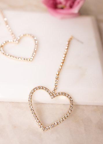 Open heart diamante earrings