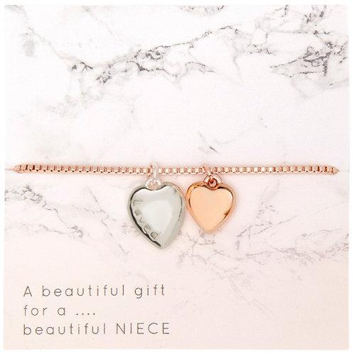 Rose Gold Bracelet 2 tone heart engraved 'loved'