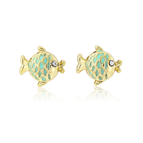 Gold Turquoise Fish Earrings