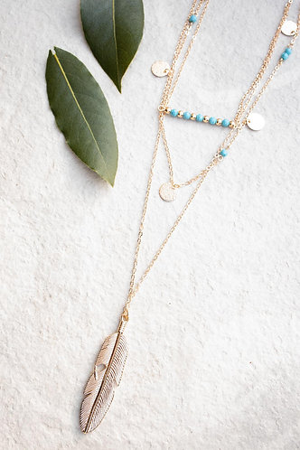 Layered beach time necklace