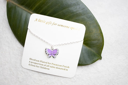 Purple or pink gemstone butterfly necklace