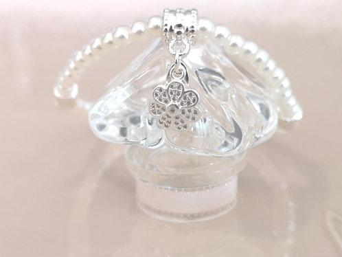 CZ silver flower pendant bracelet BC04s