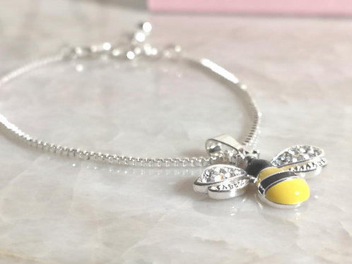Silver bee bracelet gift boxed BC22