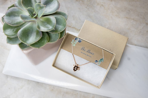 Bee Brave rose gold necklace