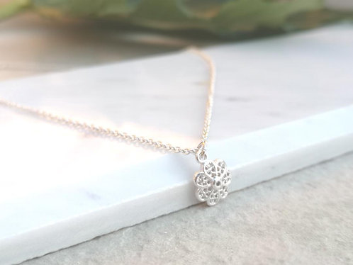 CZ Silver Flower necklace