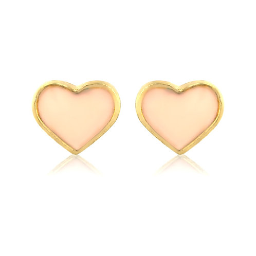 Gold encased nude heart earrings