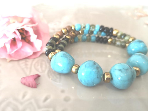 Marble blue wooden natural bracelet BL14