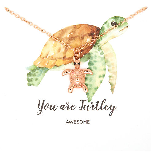 Rose gold Turtle necklace PNG05